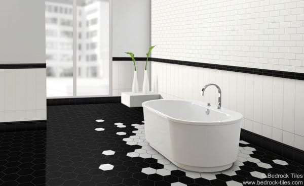 unusual hexagonal floor tiles in bathroom