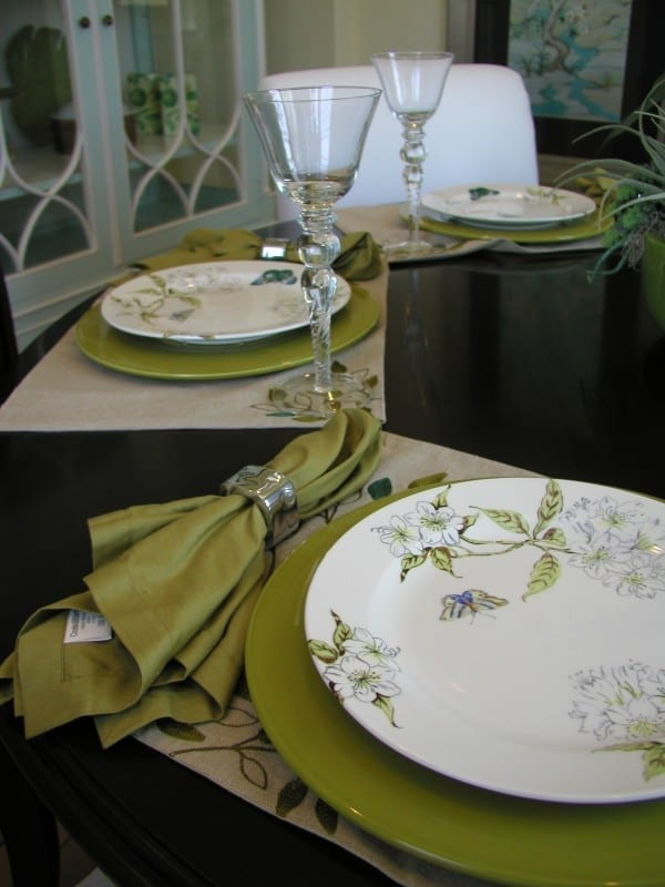 colourful plates in dining room
