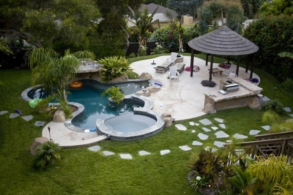 gorgeous pool area in garden