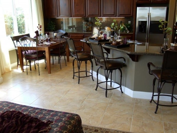 floor tiles in kitchen and family room