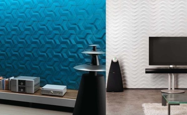 living room with unusual tiles walls