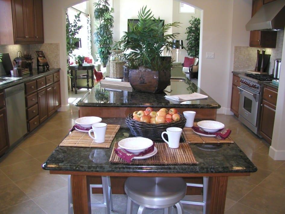 travertine floor tiles in large kitchen